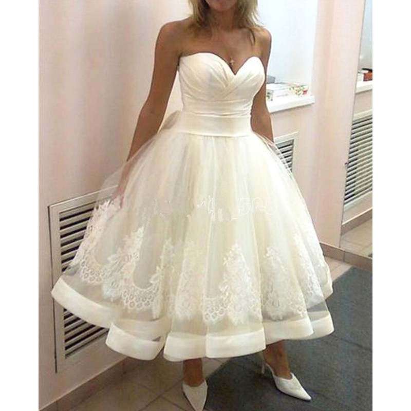 484a30d20e5 US2-26W++ Sweetheart Short Wedding Dresses Ball Gown Bridal Appliques  Latest Design Tulle Tea Length Bridal Gowns Vestidos