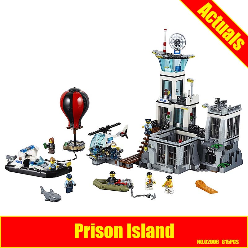 Prison Island Set LEPIN 02006 815Pcs City Series Children Educational Building Blocks Bricks Boy Toys for Children With 60130 lepin 02006 815pcs city police series the prison island set building blocks bricks educational toys for children gift legoings