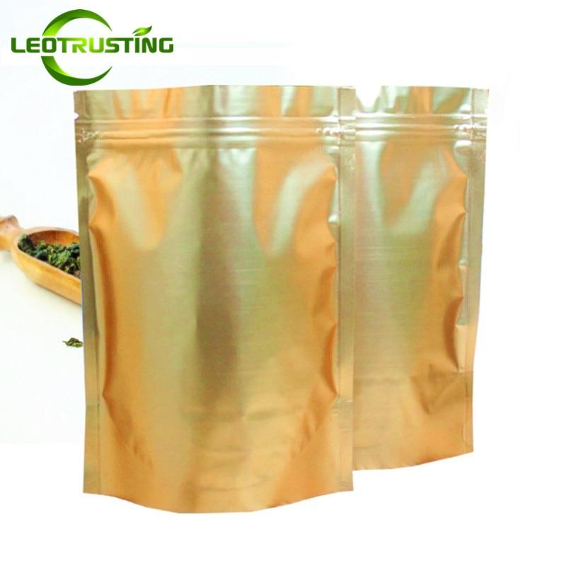 Leotrusting 100pcs Matt Gold Aluminum Foil Zip Lock Bag Stand up Golden Food Mylar Bag Party Wedding Gift Foil Packaging Bag