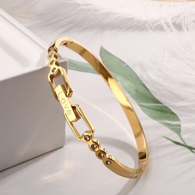 MSX Cuff Bracelets for Women Stainless Steel Bangle Luxury Brand Female Jewelry Love Vintage Style Rose Gold Color Wristband