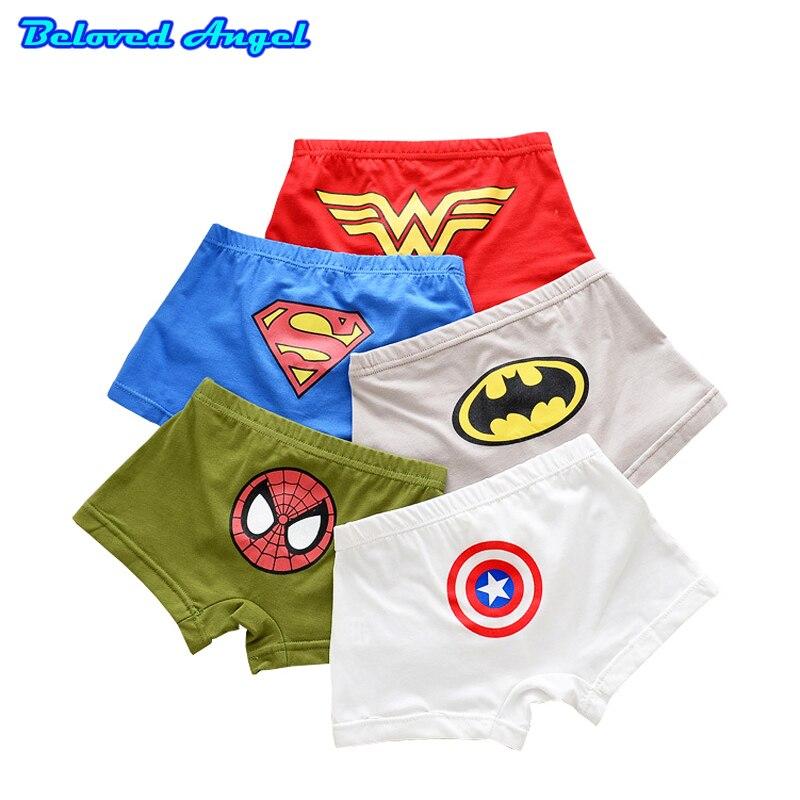 5 Pcs/lot Cartoon Boys Underwear Soft Breathable Kids Boxer For 2-13Yrs Baby Panties Kawaii Boy Briefs Children Underpants