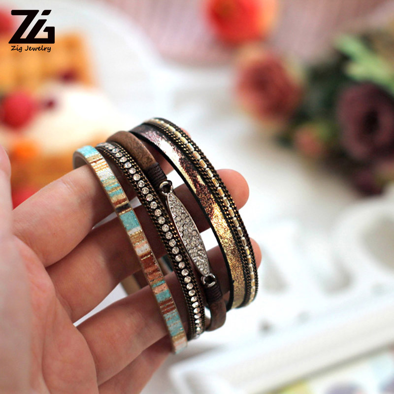 ZG Fashion Women Leather Bracelet Rhinestone Bar Charm Bohemian Leather Female Bracelets in 7 Colors 4