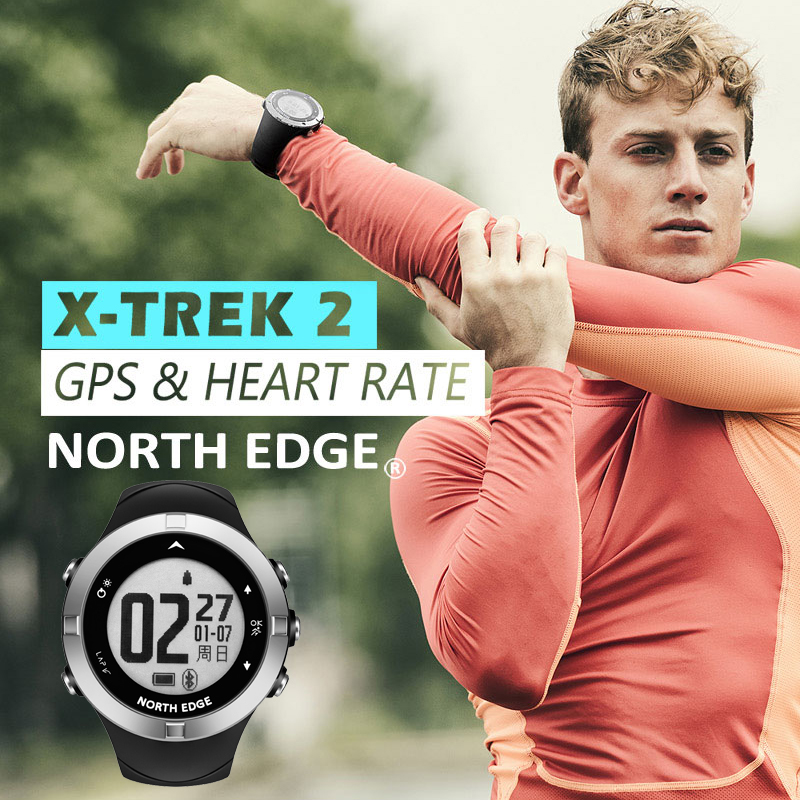 North Edge GPS Running Sport Watch Heart Rate Calories Monitor GPS Distance Speed Men Sports Digital Watch 50M Waterproof
