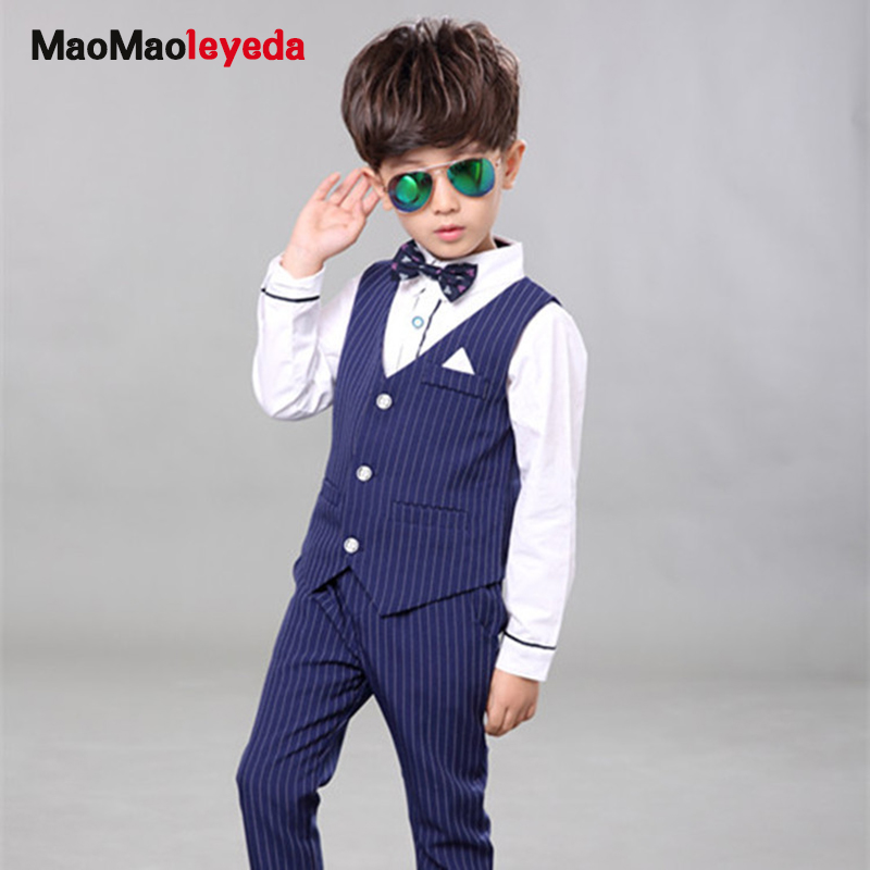 2017 Children Baby Boy Blazer Clothes Set Shirt Striped Vest Pants Suits For Wedding Kids Tuxedo Suit Boys Vest Formal Clothing boys wedding clothes kids tuxedo suit for baby boy blazer plaid vest shirt pants toddler formal party set children clothing b038