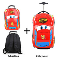 Children's Suitcase Child Trolley case 18inch Luggage Bag kids Schoolbags travel Suitcase with Wheel 3D car storage box kid Toys