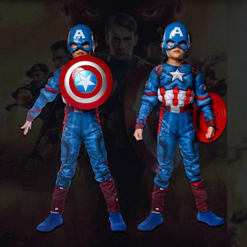 Superhero Kids Muscle Captain America Costume Avengers Child Cosplay Super Hero Halloween Costumes For Kids Boys Girls S-XL super heroes kostiumy