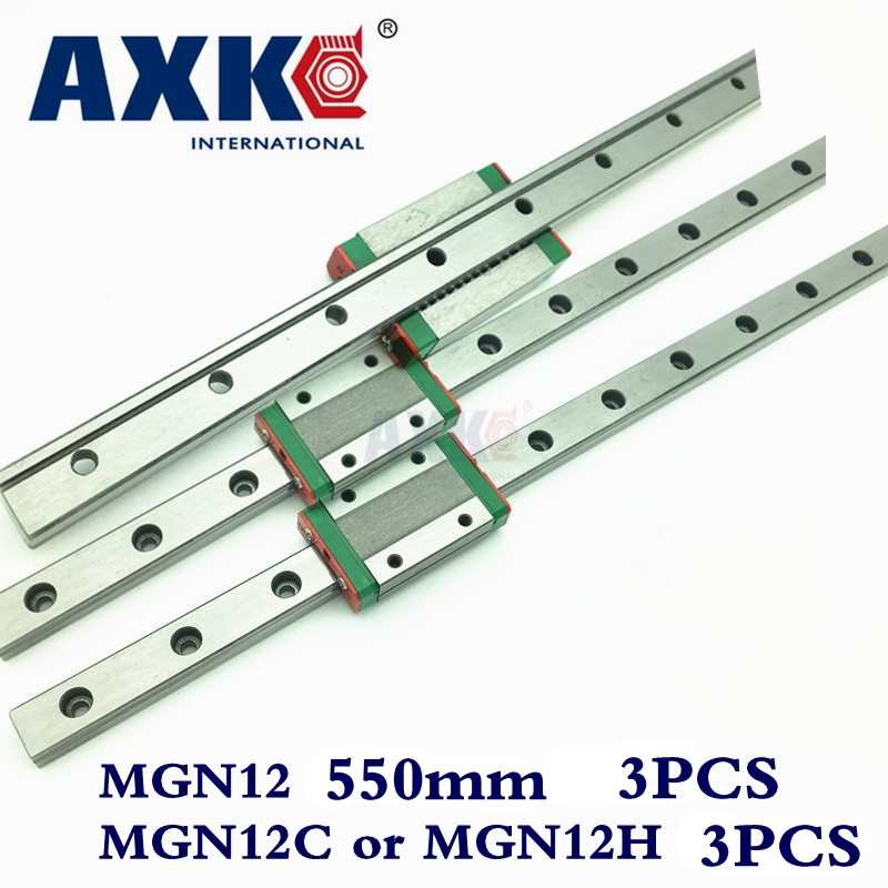 Linear Rail 3pcs 12mm Linear Guide Mgn12 L550mm Rail With 3pcs Mgn12C or MGN12H Carriages Block For Cnc Diy And 3d Printer Xyz цена