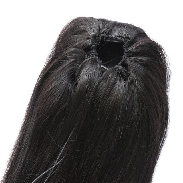 Прямые конский хвост 100% человеческие волосы на шнурке конский хвост с клипсами для женщин бразильские не Реми волосы 1 шт. Ms Love