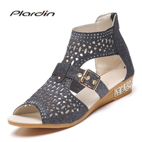 Plardin 2017 Women Shoes Summer Narrow Band Buckle Strap Style Flat Heel Soft Leather Casual Ankle