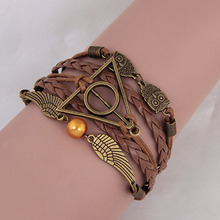Vintage Harry Potter Deathly Hallows Wings Multilayer Braided Leather Stainless Steel Leather Bracelet For Women And Girl(China (Mainland))