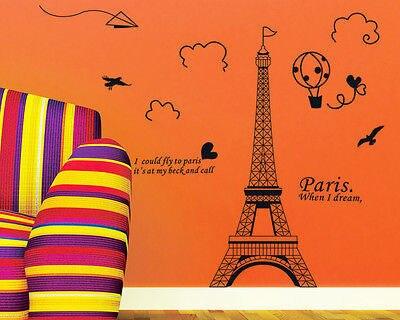 New Paris Eiffel Tower Vinyl Art Decal Mural Home Room Wall Sticker Decor 5