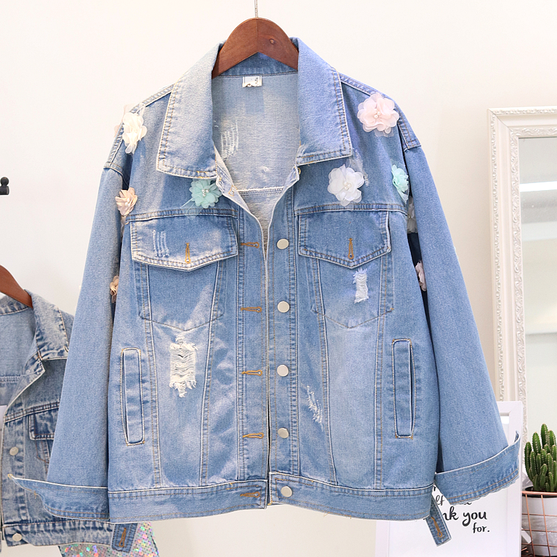 Trois Femelle Denim Bleu Étudiant De Lâche 2018 Manteaux Fleurs Manteau Mode Dimensions Outwear Perles Trous Automne Femme Jeans Veste Jean wSqfYBxR