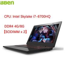 "Bben x6 15.6 ""laptops gaming computer intel skylake i7-6700hq quad Core de Windows 10 DDR4 16G + SSD 128G Teclado Retroiluminado Laptop"