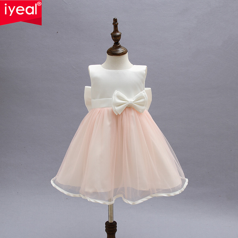 IYEAL Kid Dresses For Girls Children Infant Toddler Princess Party Wedding Dresses With Bow for Summer Girls Clothes 2-8 Years