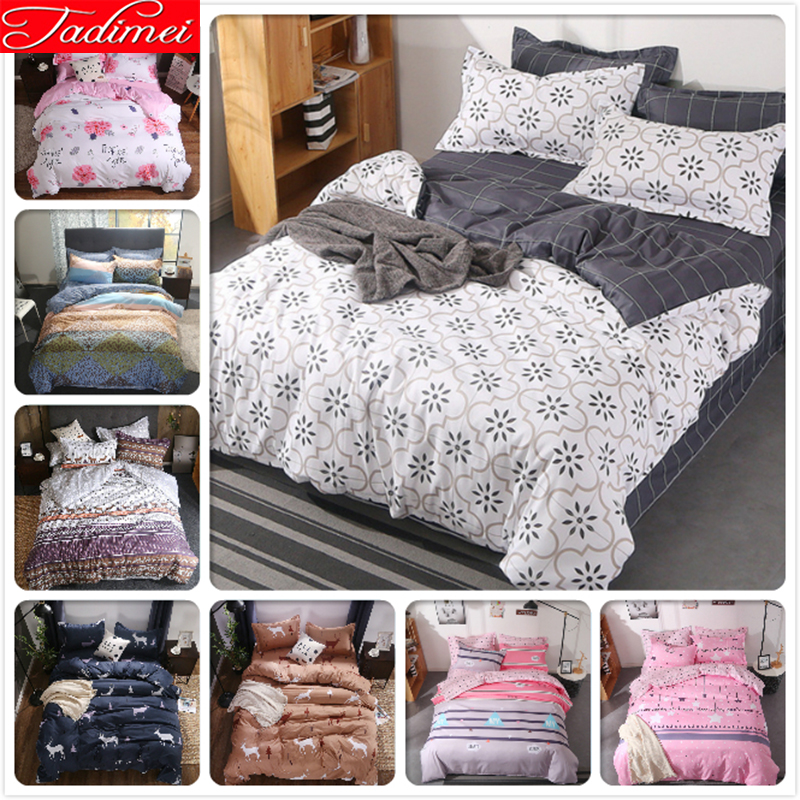 Creative Plain Duvet Cover 3/4 Pcs Bedding Set Adult Kids Child Soft Cotton Bed Linen Single Queen King Big Size 150x200 180x220