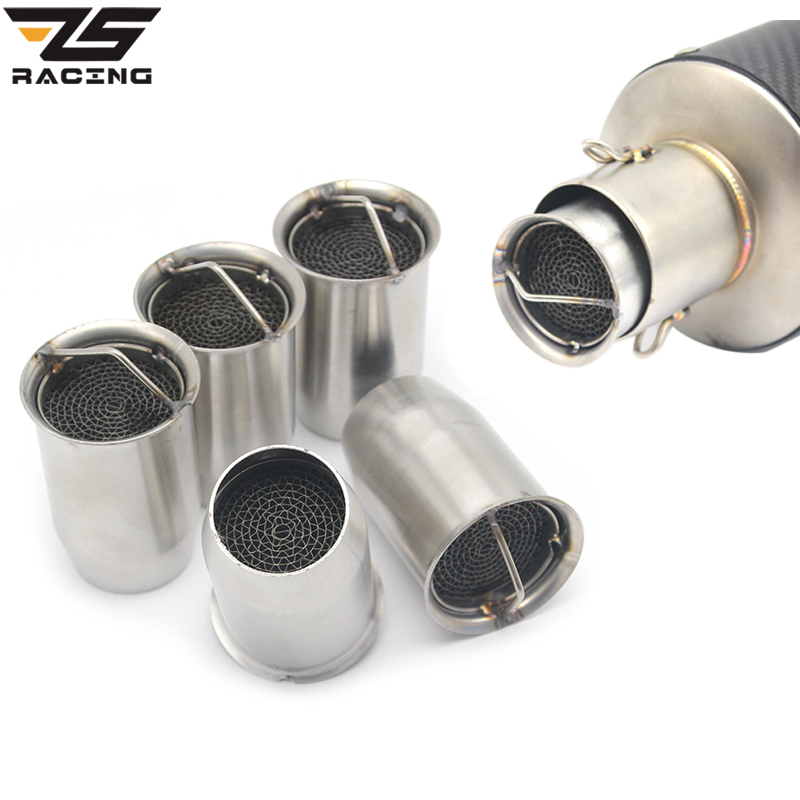 ZS Racing 51mm Front End DB Killer For Motorcycle Akrapovic Exhaust Muffler DB killer Catalyst Silencer Noise Sound Eliminator