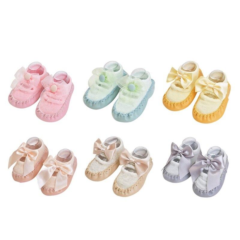 Bebé niños niñas primavera otoño algodón zapatos calcetines lindos calientes antideslizantes zapatos de suelo infantil calcetines calentador interior caminar aprendizaje Calcetines