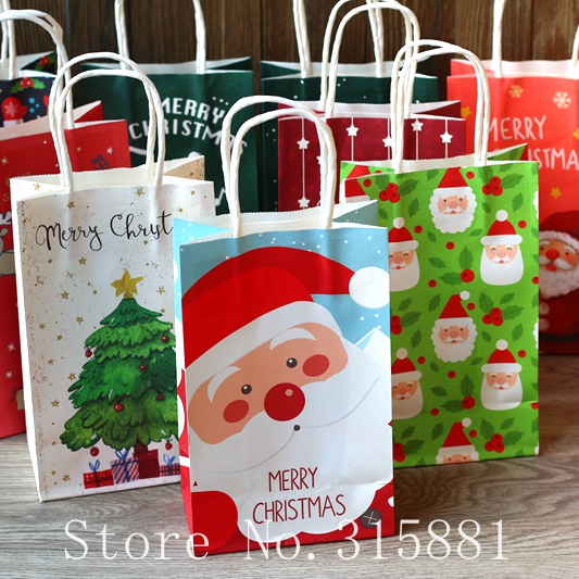 Christmas Gift Bags.Us 12 0 Christmas Paper Bags Gift Bags Snacks Candy Packaging Bag Christmas Gift Bags With Handles 10pcs Lot In Gift Bags Wrapping Supplies