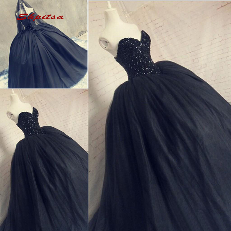Black Wedding Dresses Ball Gown Tulle Crystal Sequin Plus