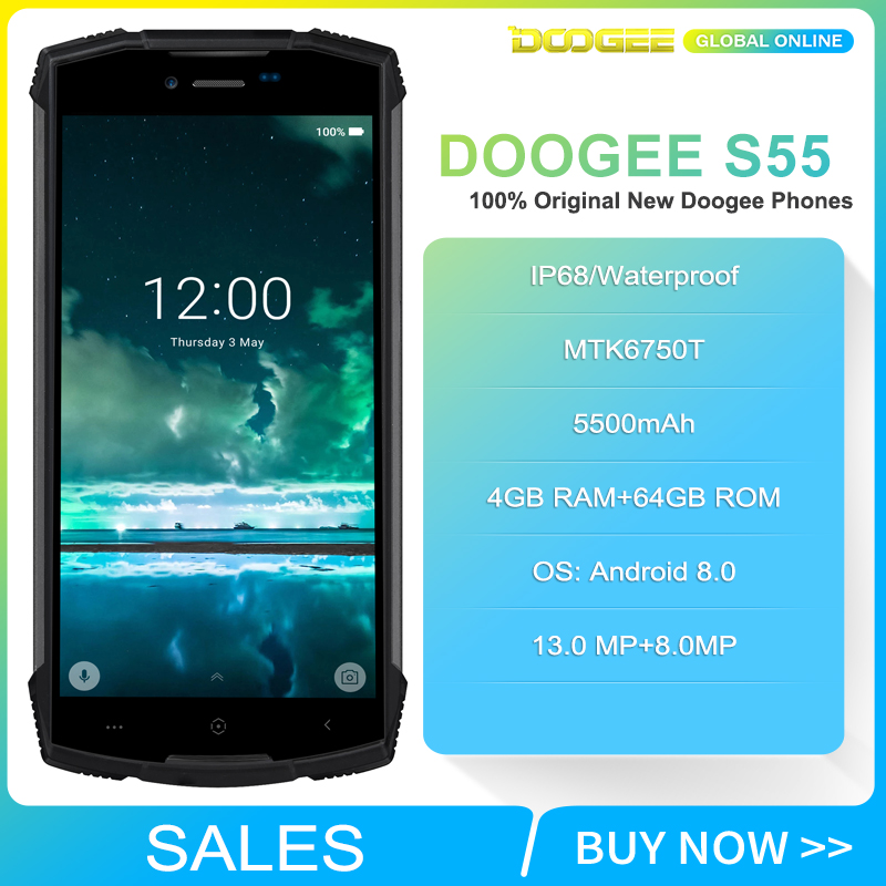 Fast shipping on DOOGEE S55 5.5 inch 18:9 IP68 Waterpoof Dustproof Smartphone MTK6750T 5500mAh 4GB 64GB Mobile phone-in Cellphones from Cellphones & Telecommunications    2