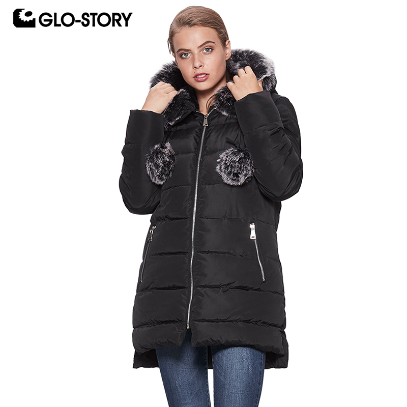 GLO-STORY European Size Female Casual Thick Wool Liner Long Warm   Parkas   with Fur Hooded Woman Winter Coats 2018 WMA-6704