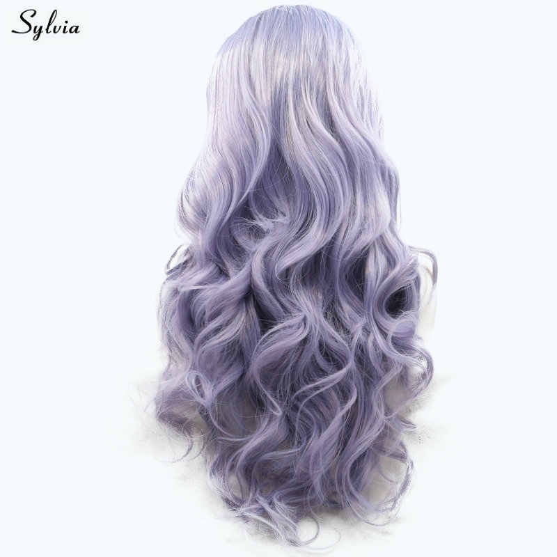 Sylvia Purple Wig New Lace Frontal Wigs for Girls Women Party Style Body Wave Long Synthetic Hair Light purple/Lilac Cosplay Wig