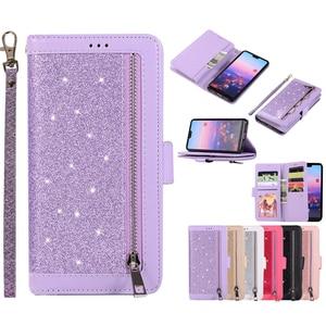 Image 5 - Huawei P40 P30 Pro P20 lite Case Flip Cover Glitter Zipper Wallet Phone Case Huawei Mate 30 20 lite 10 Pro Magnetic Leather Case