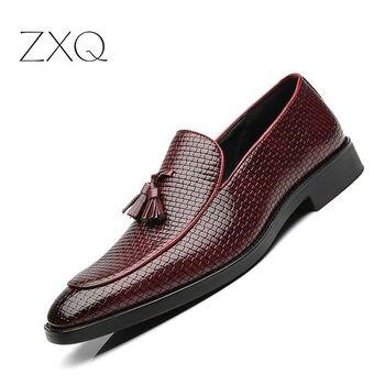 Mocasines de hombre con borla de lujo de marca de comodidad elegante tejido hombres zapatos de vestir planos de Hombre Zapatos casuales para hombre talla grande 38-48