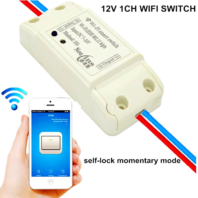 1CH 12V DC Smart interruptor WiFi Switch Module Controlled by Phone On Android and IOS for Light Garage Door