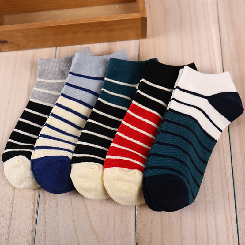 Hot 1Pair Men Boys Cotton Stripe Short Socks Soft Elasticity Ankle Sock
