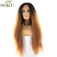 SOKU Synthetic Lace Front Wigs For Black Women Ombre Brown Blonde Kinky Straight