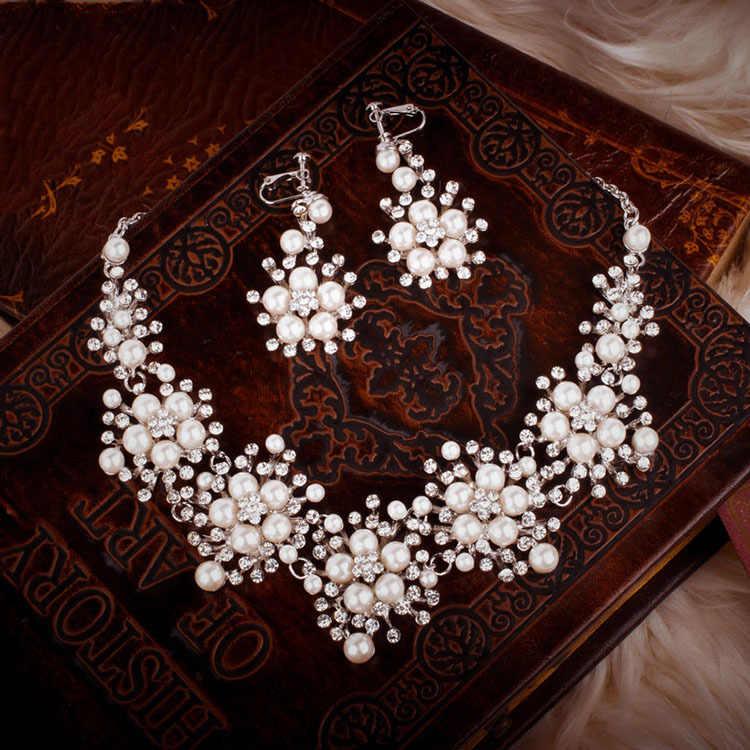HIMSTORY חדש עיצוב פרח גביש פנינת הכלה 3pcs סט שרשרת עגילי נזר כלה חתונת תכשיטי סט אבזרים