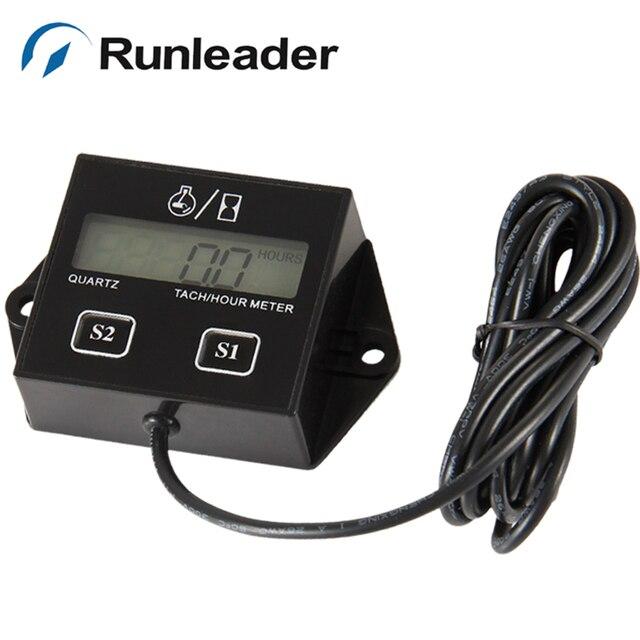 Runleader Gasoline Engine Tachometer Hour Meter For Car Truck Lawn Mower Log Splitter Hay Baler
