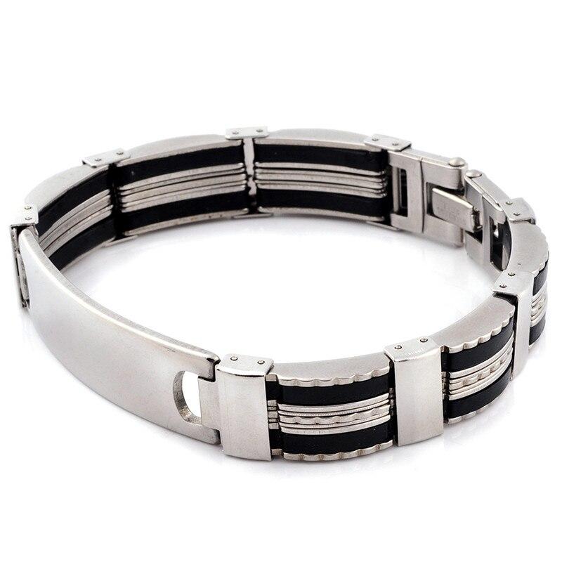 New Design Link Chain 316L Stainless steel Men Bracelet Wristband 20.5-22cm Punk Silicone Men Bangle Cuff Fashion Jewlery