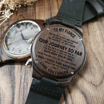 To My Fiance-Engraved Wooden Watch Customized Men Ebony wood Watches Luxury Watch Wrist Watch Birthday Holiday Gifts redear top quality wood men watch automatic zebra wood and ebony black watch the best gift for man without logo