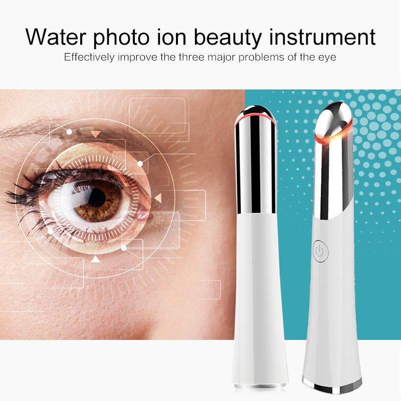 Rechargeable Electric Heated Sonic Eye Massager Face Eye Massager Roller Wand Eliminating Wrinkles Blue Light Therapy Dropship