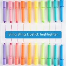 10 color sweet Lipstick highlighter pen Novelty stick marker pens Candy gel crayon Stationery Office School supplies DB607