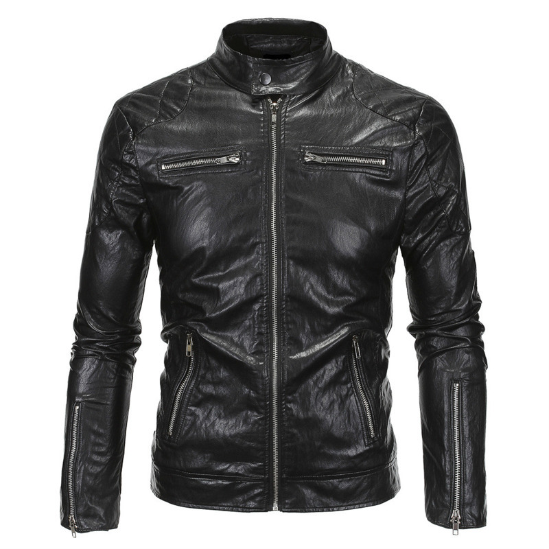 Mens Fashion Stand Collar Winter Autumn Warm Motorcycle PU Leather Windproof Zipper Jacket Coat Casual Outerwear