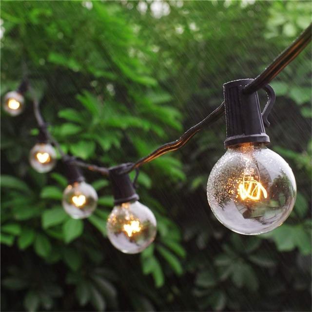 G40 küre noel dize işık parti peri garland düğün bahçe partisi ağacı sokak veranda ışıkları peri Vintage ampuller açık