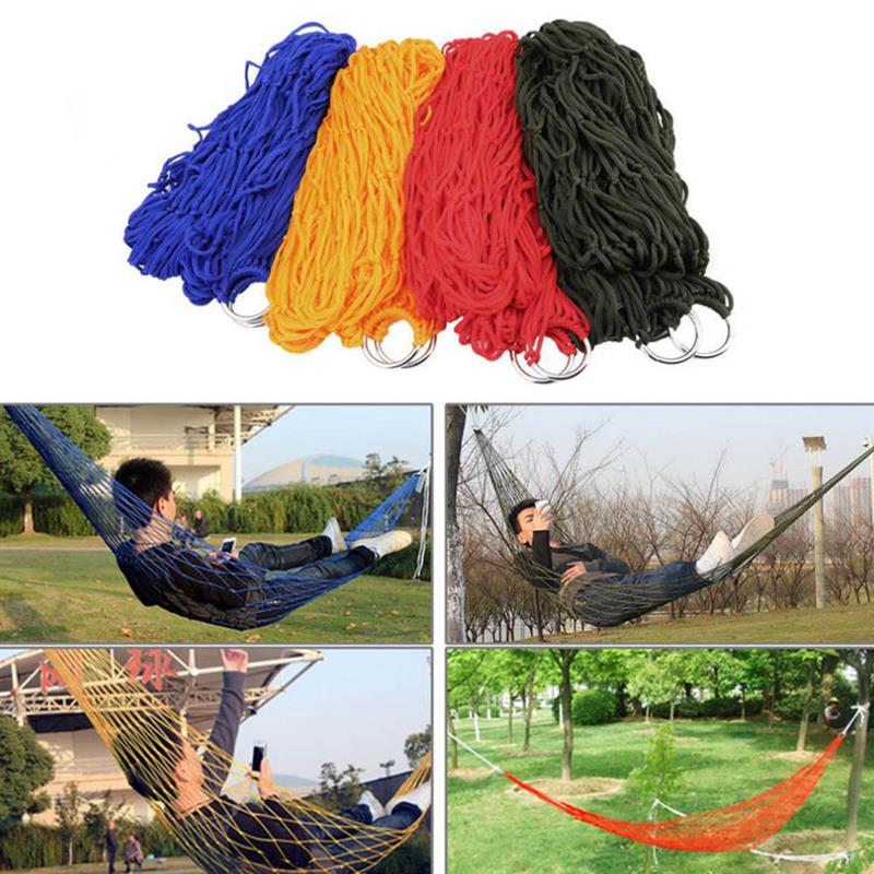 New Portable Sleeping Bed Hammock Hanging Swing Hot Travel Camping Outdoor Mesh Nylon Multicolor Home Garden Tool Rope Net