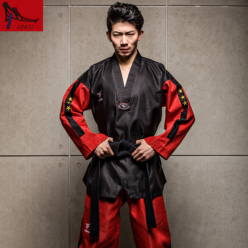 five-star doboks adult men and women Taekwondo coach clothing long sleeved clothing Black red design adult taekwondo uniforms itf full embroidery taekwondo clothing standard plain 1 3 dan assistant instructor doboks 4 6 dan instructor uniforms wholesale