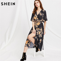 SheIn Womens Clothing V Neck Floral Print Wrap Dresses Woman Summer 2016 New Fashion Half Sleeve