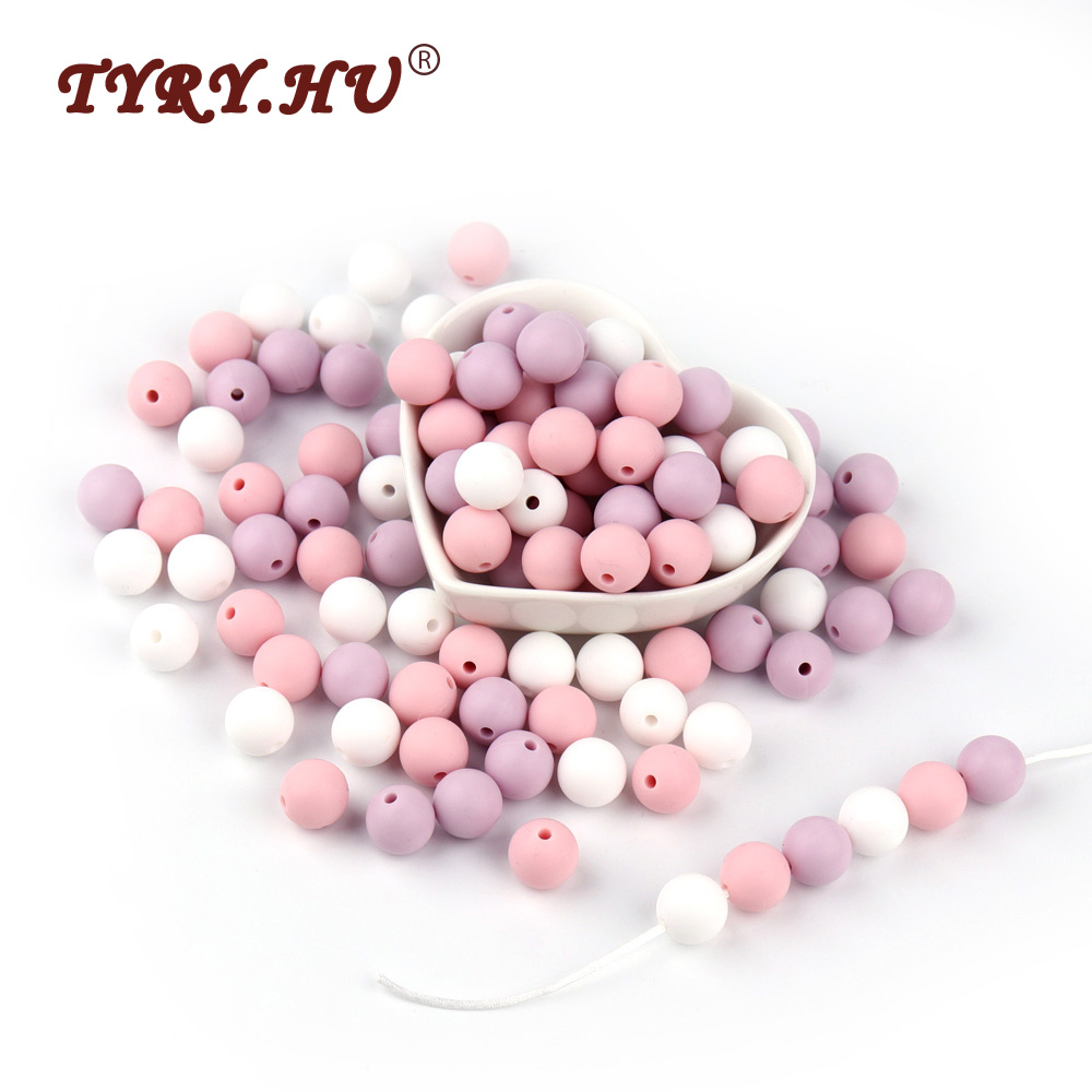 TYRY.HU 30Pcs Silicone Beads Food Grade Silicone Teether Round 12mm Baby Teething Beads BPA Free Baby Tooth Care Shower Gifts стоимость