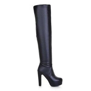Image 5 - FITWEE rozmiar 32 45 kobiet ponad buty do kolan futro platformy zimowe buty kobiety moda biurowa, damska ciepłe wysokie buty na obcasie