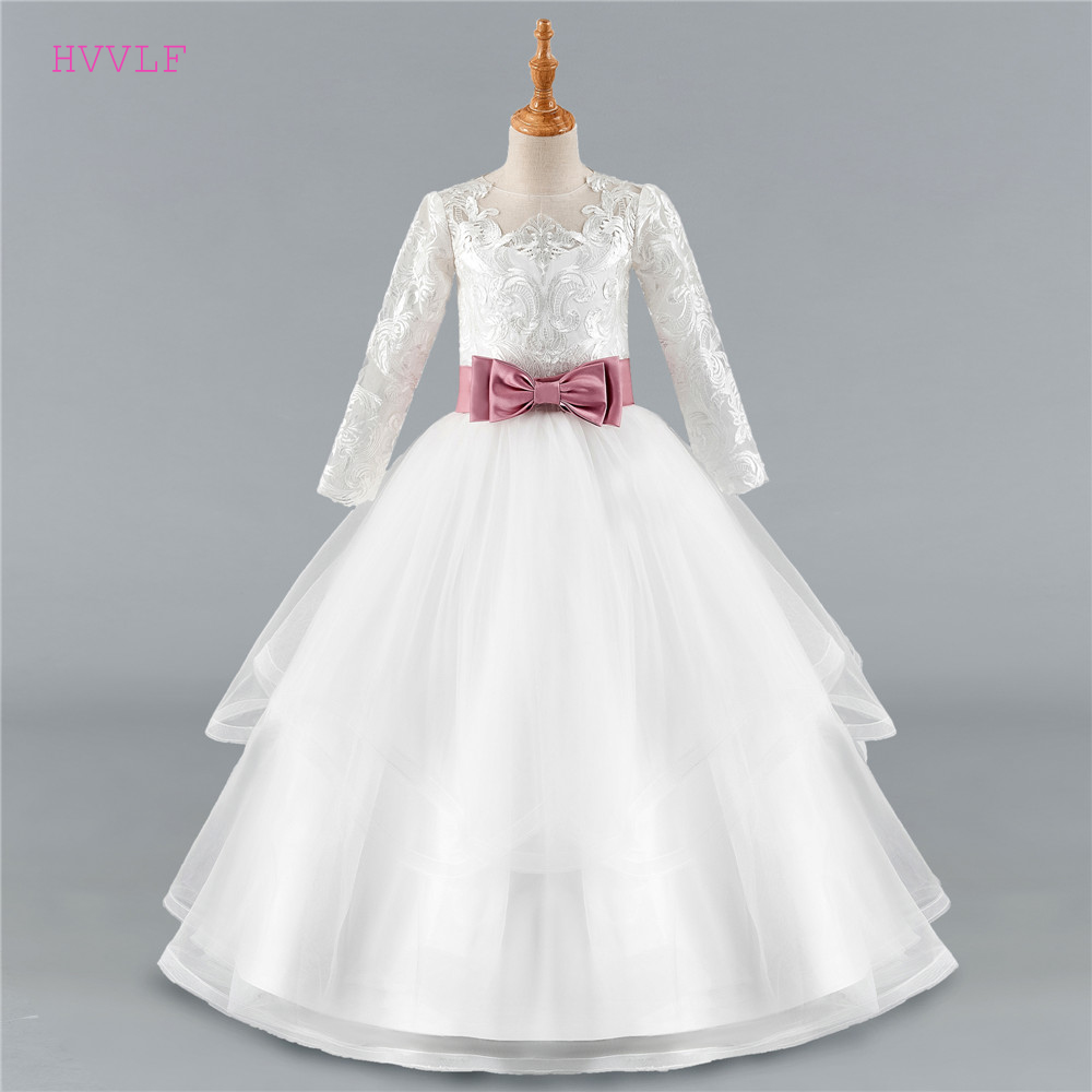 Ivory 2019 Flower Girl Dresses For Weddings Ball Gown Long Sleeves Tulle Bow Lace First Communion Dresses For Little Girls
