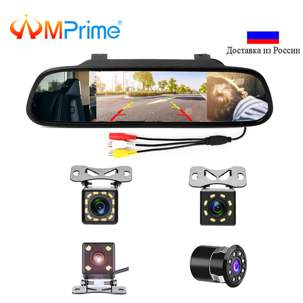 Podofo 4.3 inch Car HD Rearview Mirror Monitor CCD Video Auto Parking Assistance LED Night Vision Reversing Rear View Camera(China)