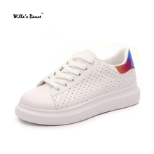 Willaรองเท้าเต้นรำรองเท้าผู้หญิง2016หนังPUรอบนิ้วเท้าสีขาวสบายๆผู้หญิงรองเท้ายี่ห้อZ Apatillas Deportivas Mujer