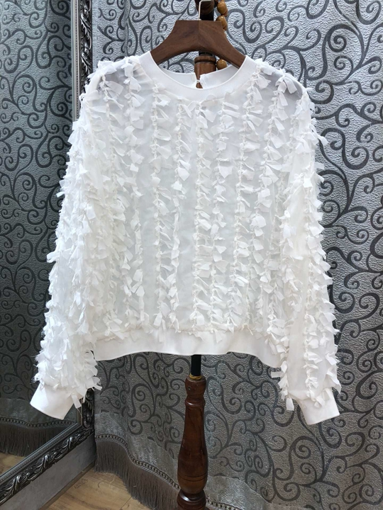 À Fourrure Col 2018 Plaine cravate Manches Longues Jacket1208 Blanc Décoratif Couture De Rayures Rond Huai x0wB1dqtB