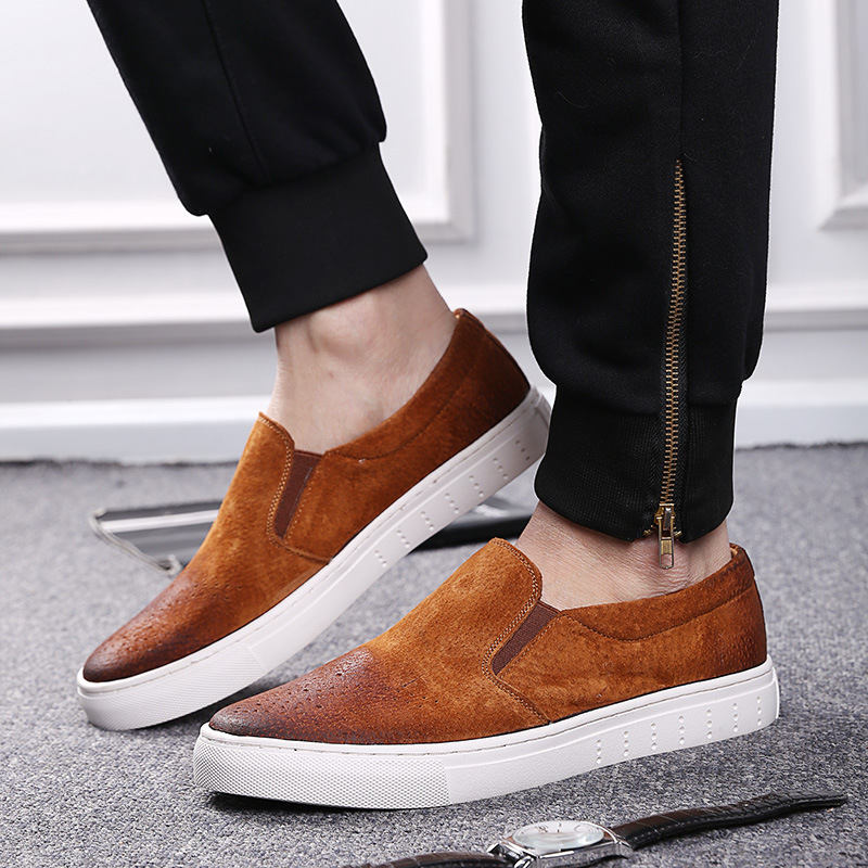 ФОТО men casual genuine leather loafer shoes slip on nubuck leather low cut shoes fashion footwear