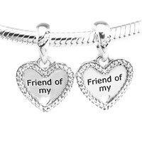 Pandulaso قلوب الصداقة استرخى الخرز ل صنع المجوهرات 100% 925 فضة مجوهرات صالح سحر سوار المرأة diy